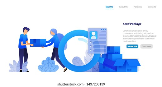 deliver packages to customers. distributing e-commerce products with full customer data protection. flat illustration concept