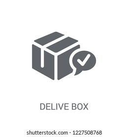 Delivered Box Verification icon. Trendy Delivered Box Verification logo concept on white background from Delivery and logistics collection. Suitable for use on web apps, mobile apps and print media.