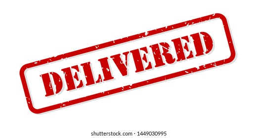 Delivered red rubber stamp vector isolated