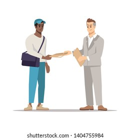 Delivering document to addressee flat illustration. Courier, errand boy giving envelope, parcel isolated cartoon character on white background. Businessman, manager receiving business correspondence