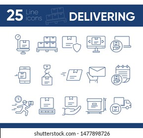 Delivering icons. Set of line icons. Fast package, mobile parcel, box weight. Logistics concept. Vector illustration can be used for topics like shipment, post service, freight