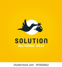 Delivering Ideas. Stork Bird Carrying Lightbulb Baby. Represents the Concept of Birth of Idea, Intelligence, Fresh Solutions etc. Conceptual Minimal Simple  Symbol. Memorable Visual Metaphor.