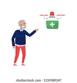 Delivering medicine to a pensioner, senior man welcoming multicopter handling box order, fast delivery service vector Illustration on a white background