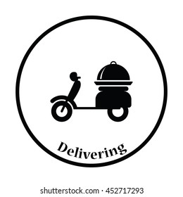 Delivering motorcycle icon. Thin circle design. Vector illustration.