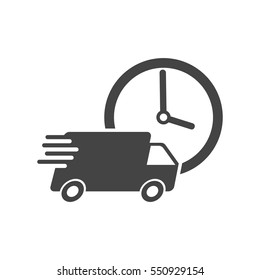 Delivery 24h truck with clock vector illustration. 24 hours fast delivery service shipping icon. Simple flat pictogram for business, marketing or mobile app internet concept on white background.