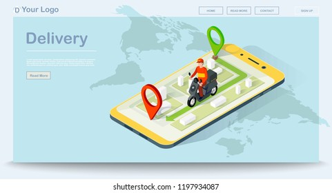 Delivery app isometric website template. Pizza order navigation. Fast food shipping. Pizza courier delivery. E-commerce concept. Online food order infographic. Webpage, app design. Isolated vector