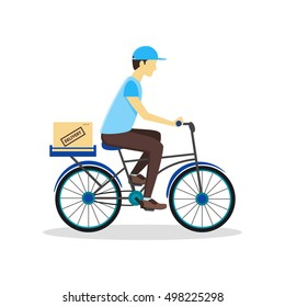 Delivery Bicycle Man with Carton Box. Logistics Service Flat Design Style. Vector illustration of Young Male Cyclist Courier With Delivery box. Concept of Bike Cyclist Courier
