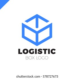 Delivery Box with Arrow Logo. Colorful line style
