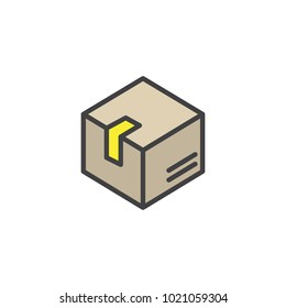 Delivery box filled outline icon, line vector sign, linear colorful pictogram isolated on white. Box, package, parcel symbol, logo illustration.