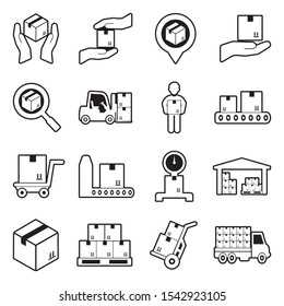 Delivery Boxes Icons. Line With Fill Design. Vector Illustration.