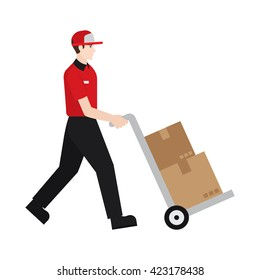 Delivery boy/ man vector illustration. Delivery courier delivering package, character isolated on white background.