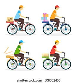 Delivery Boy on the Bike Set. Flat Design Style. Vector illustration of four male courier  character riding bicycle with different  boxes. City person courier