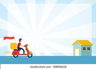 Delivery Boy Ride Scooter Motorcycle Service to Home, Order, Worldwide Shipping, Fast and Free Transport