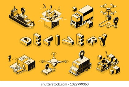 Delivery business line art, isometric vector banner. Goods shipping, postal company, home removal service, cargo and freights transportation, commercial logistics technologies illustration collection