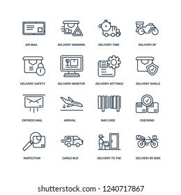 delivery by bike, to the door, Cargo Bus, Inspection, Checking, Air mail, safety, Express Settings outline vector icons from 16 set
