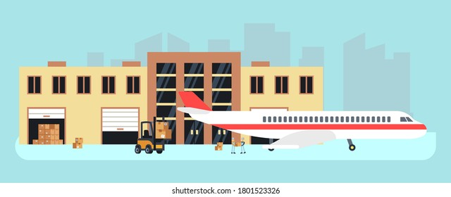 Delivery by plane. Cargo aircraft, loading for transportation. Stock or airport warehouse, air logistic vector illustration