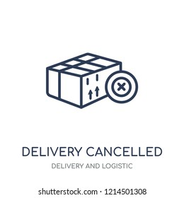 Delivery cancelled icon. Delivery cancelled linear symbol design from Delivery and logistic collection.