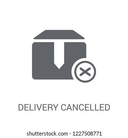 Delivery cancelled icon. Trendy Delivery cancelled logo concept on white background from Delivery and logistics collection. Suitable for use on web apps, mobile apps and print media.