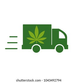 Delivery cannabis. Illustration of a delivery truck icon with a marijuana leaf. Drug consumption, marijuana use. Marijuana Legalization. Vector illustration on white background.