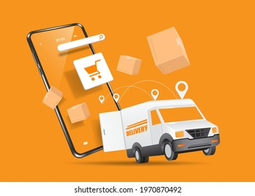 A delivery car and a delivery box fly out of a smartphone with a shopping cart icon on screen for delivery and shopping online concept design,vector 3d isolated,object on orange background