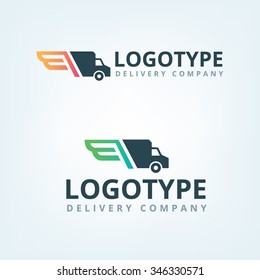 Delivery car company logo. Wings logotype.