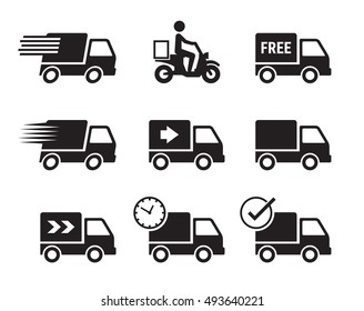 Delivery car icons, black on a white background