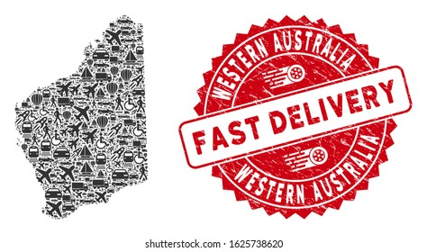 Delivery collage Western Australia map and corroded stamp seal with FAST DELIVERY words. Western Australia map collage composed with gray randomized delivery symbols.