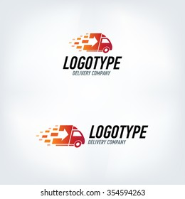 Delivery company logo. Fire logotype. Fast car.