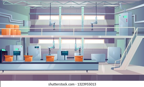 Delivery company or postal service automated packaging line, factory production shop interior cartoon vector with room full of industrial equipment, robotic hands packing cardboard boxes on conveyor