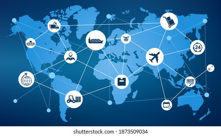 Delivery concept with connected logistics set icons, freight customs in the world, international free trade, shipping signs, world map – stock vector