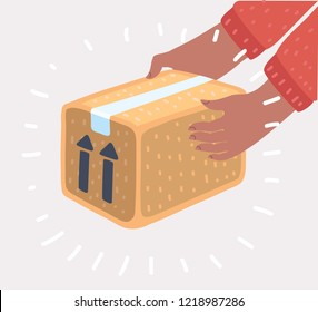 Delivery concept. Courier hands holding package or carton box. Isolated on white background. Hands getting a postal parcel. Vector cartoon illustration in modern concept