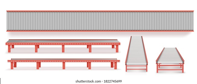 Delivery concept. Empty conveyor line isolated on a white.
