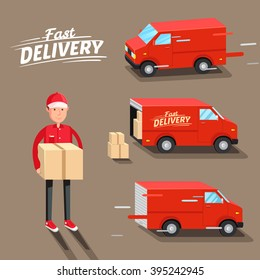 Delivery Concept. Fast delivery van. Delivery man. Vector illustration