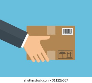 Delivery concept. Hand holding package. Flat style