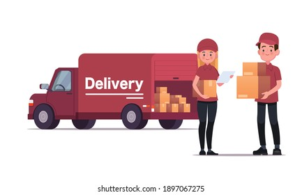 Delivery courier carrying packages with delivery truck vector illustration
