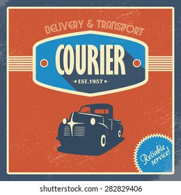 Delivery courier company vintage background template. Old retro pickup truck as a symbol of transport and shipping. Eps10 vector illustration.