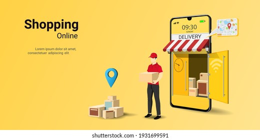 Delivery courier man holding Parcel Box with mobile phone. Fast online delivery service. Customer Delivery Character. concept for website or banner. 3D Perspective Vector illustration