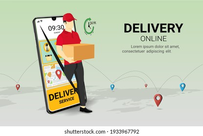 Delivery courier man holding Parcel Box with mobile phone. Fast online delivery service. Online order. Internet e-commerce. concept for website or banner. 3D Perspective Vector illustration