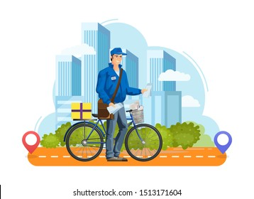 Delivery courier order box on bicycle on background of high-rise buildings of the city. Order transportation male courier. Post delivery letters, parcels on bike. Fast machine transport vector