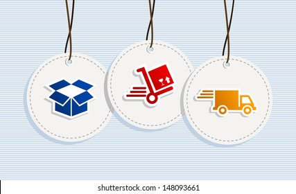 Delivery design elements hang tags symbols set. Vector file layered for easy manipulation and custom coloring.