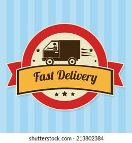 Delivery design over blue background, vector illustration