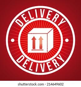 delivery design over red background vector illustration