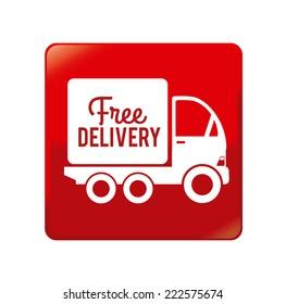 Delivery design over red background, vector illustration