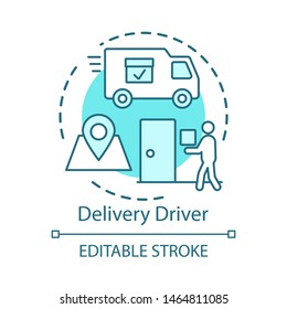Delivery driver concept icon. Service worker idea thin line illustration. Express shipment, distribution. Delivery vehicle, truck. Cargo shipping. Vector isolated outline drawing. Editable stroke