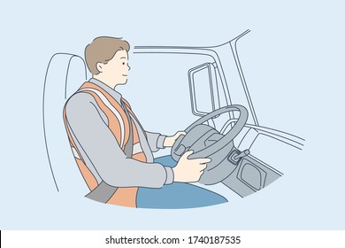 Delivery, driving concept. Young man or boy car driver cartoon character. Truck driver sitting in cabin of vehicle looks on road. Delivering services transportation and trucking industry illustration.