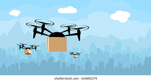 Delivery drone with the package against city background. Fast and convenient transportation concept. vector illustration.