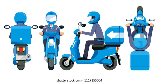 Delivery everything service concept. Motorcycle staff have a quick shipment standard view.