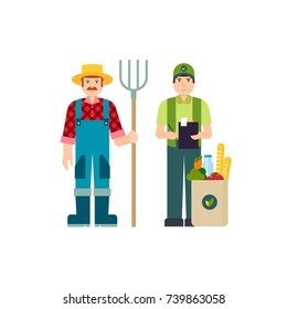 Delivery of farm products and farmer with a pitchfork . Paper package with fresh healthy produce. Organic products from the farm. Vector flat design illustration