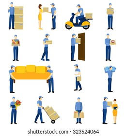 Delivery flat icons set with man silhouettes isolated vector illustration