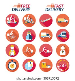 Delivery Flat Icons Set, Shipping, Transport, Order, Service, Fast and Free
